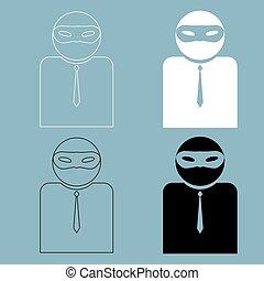 cor, máscara, homem preto, ícone, incógnito, branca
