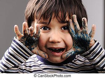 cor, mãos sujas, verde, criança