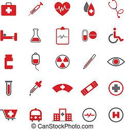 cor médica, ícones, branco, fundo