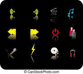 cor, mídia, ícone, jogo