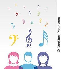 cor, música, pessoas
