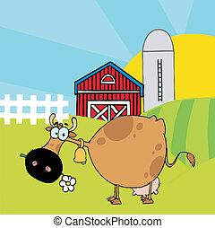 cor, marrom, diferente, vaca
