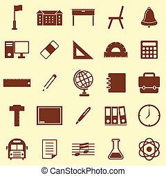 cor, marrom, escola, fundo, ícones