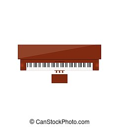 cor, marrom, piano, ilustração, instrumento