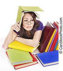cor, menina, livro, pilha