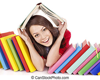 cor, menina, pilha, book.