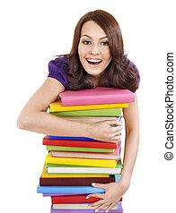 cor, menina, pilha livro