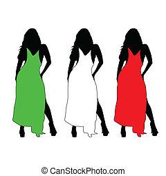 cor, menina, vetorial, vestido