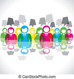 cor, mensagem, b, reunião, homens negócios