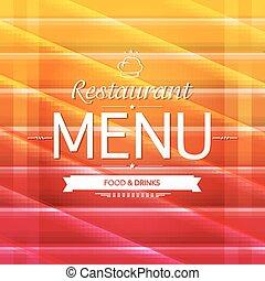 cor, menu, desenho, restaurante