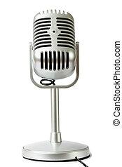 cor microfone, isolado, metálico, frente, pedestal, estúdio, vista, branca, plástico