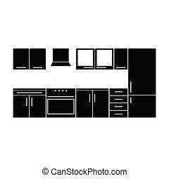 cor, mobília, pretas, ilustração, cozinha