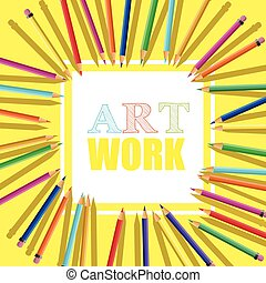 cor, modelo, pensils, luminoso, emblemas, produtos, inscription., clube, arte, desenho, cartões, elementos, trabalho, educacional