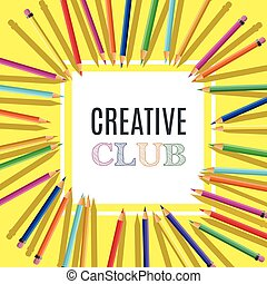 cor, modelo, pensils, luminoso, emblemas, produtos, inscription., clube, criativo, desenho, cartões, elementos, educacional