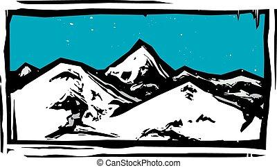 cor, montanha, woodcut