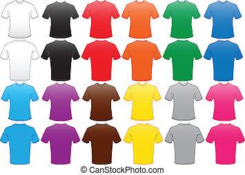 cor, muitos, camisas, modelo, macho