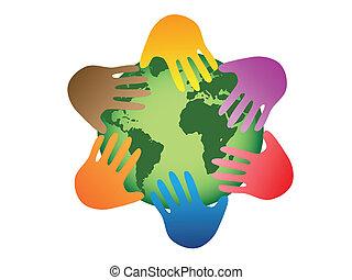 cor, mundo, mãos