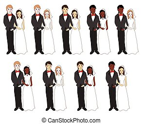 cor, noiva, diferente, noivo, pele