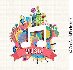 cor nota, etiqueta, formas, música, ícone, áudio