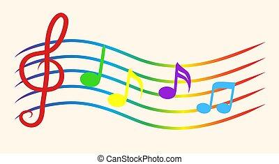 cor, notas música, ligado, staves., vetorial, ilustração