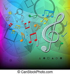 cor, notas, modernos, música, fundo