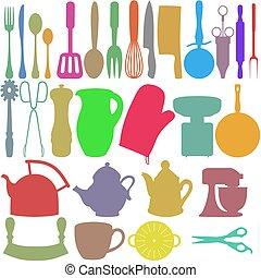 cor, objetos, cozinha