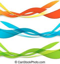 cor, ondulado, abstratos, jogo, linhas