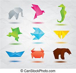 cor, origami, jogo, animais