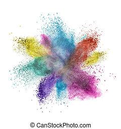 cor, pó, explosão, isolado, branco