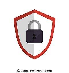 cor, padlock, silueta, emblema, escudo