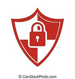 cor, padlock, silueta, escudo