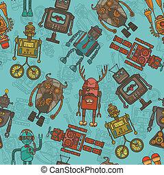 cor, padrão, hipster, robô, seamless