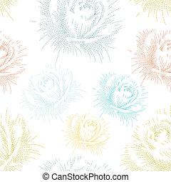 cor, padrão, seamless, mão, rosas, desenho