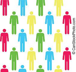 cor, padrão, seamless, pessoa, silhuetas, vermelho