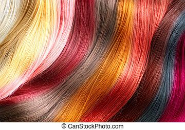 cor, palette., cabelo tingido, cores, amostras