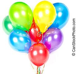 cor, Partido, decoração, balões