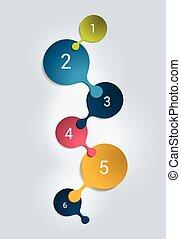 cor, passo, banner., negócio, modelo, vector., infographic., redondo, numerado
