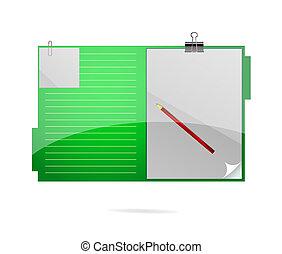 cor, pasta, verde, símbolo, escritório