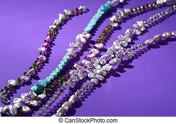 cor, pedras, jóia, colares, experiência roxa