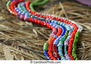 cor, pedras, jóia, colares, palha, fundo