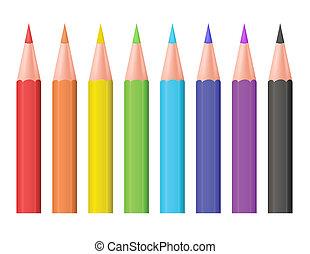 cor, pencils., vetorial, illustration.