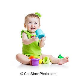 cor, pequeno, tocando, menina, brinquedos