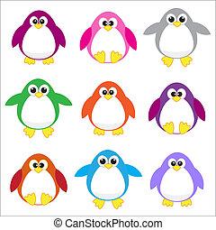 cor, pingüins, arte, clip