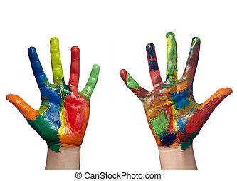 cor, pintado, criança, mão, arte, arte