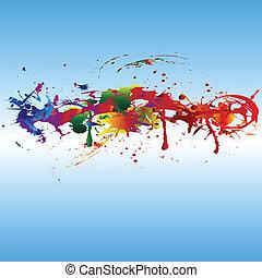 cor, pintura, splashes.