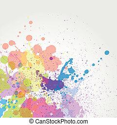 cor, pintura, vetorial, esguichos