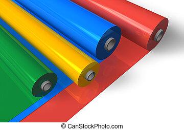 cor, plástico, rolos