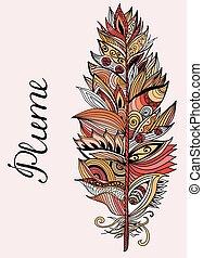 cor, pluma, vetorial, lettering., illustration.