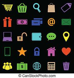 cor, pretas, ecommerce, fundo, ícones