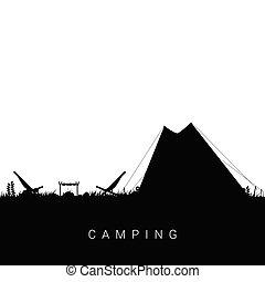 cor, pretas, ilustração, acampamento, natureza